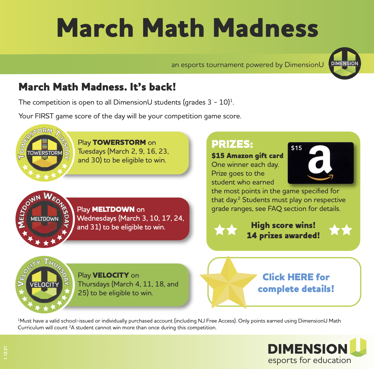 Competition rules for March Math Madness 2021